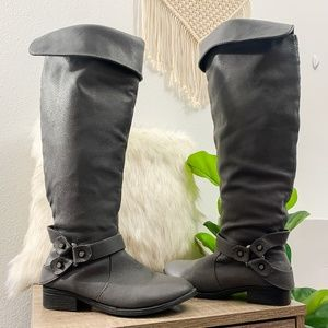 Torrid Tall Faux Leather Boots Gray Size 8W